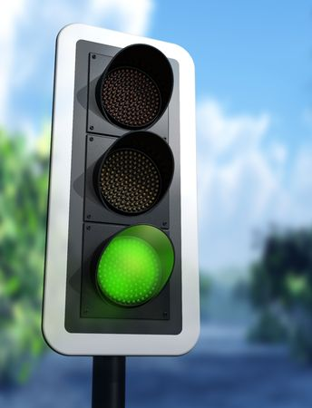 Illustration of a green traffic light on a country road illustration