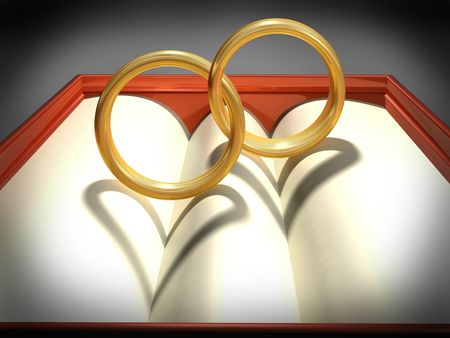 Two interlocking wedding rings with heart shadows photo