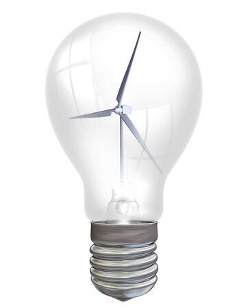 encapsulated: Wind turbine encapsulated within an electric light bulb Stock Photo
