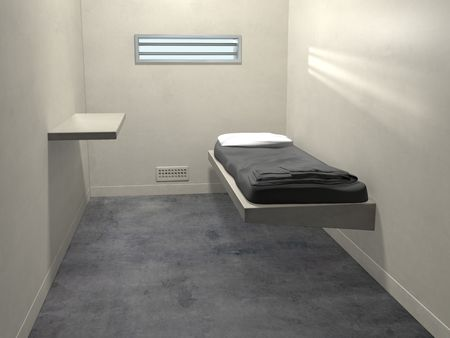 confinement: Original illustration of a modern prison cell Stock Photo