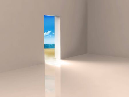 enticing: Doorway leading out to an enticing beach