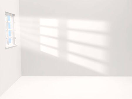 Empty white room with sunlight shining through a window photo