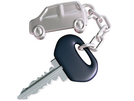 key chain: Isolated illustration of a car key linked to car shaped fob