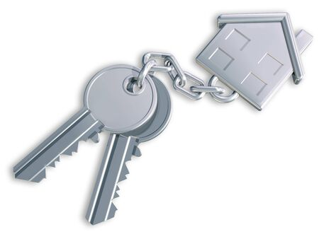 Illustration of two keys linked to a house shaped fob illustration