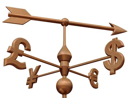 weathervane: Weathervane with currency symbols showing the direction of the money markets