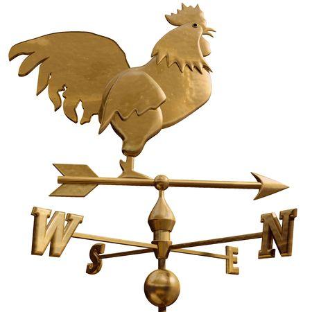 windward: Original isolated illustration of a bronze weathervane