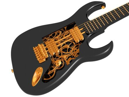 workings: Original customized guitar with cogs and gears Stock Photo