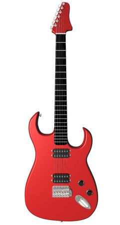 red rock: Isolated illustration of a red electric guitar  Stock Photo