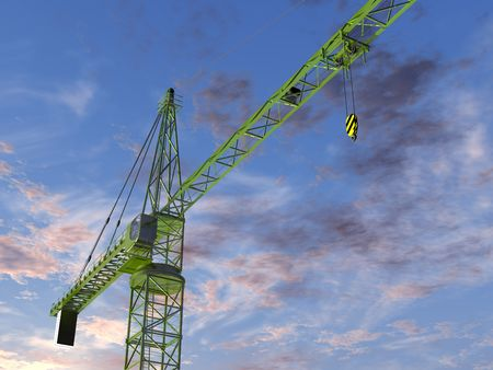 imposing: Original illustration of an imposing tower crane at twilight