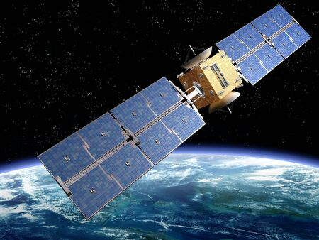 satellite tv: Illustration of a satellite orbiting the earth