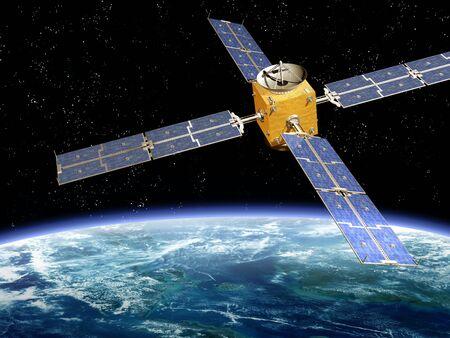 orbiting: Illustration of a satellite orbiting the earth