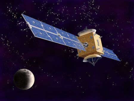 Illustration of a satellite in space with a starry background Stock Illustration - 6920320