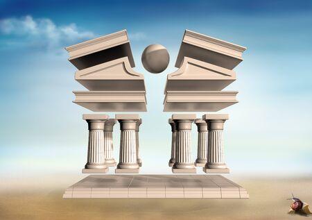 temple grec: Illustration originale d'un temple grec en d�construit un paysage aride