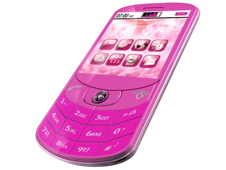 fuschia: Isolated illustration of an original pink Smartphone