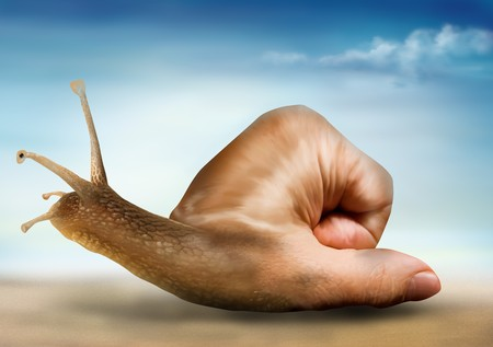 merged: Surreal snail with a hand for a shell Stock Photo