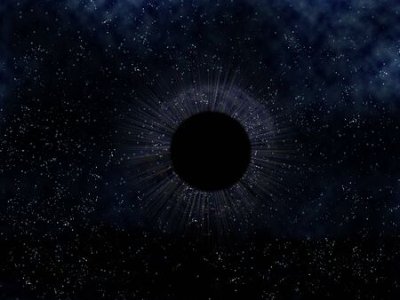 black hole: Illustration of a mysterious black hole in outer space