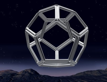 Original illustration of an impossible dodecahedron in the night sky illustration