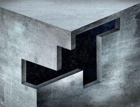 paradox: Original illustration of an impossible geometric shape