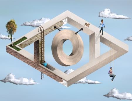 Paradoks: Oryginalny ilustracji niemożliwe struktury architektoniczne