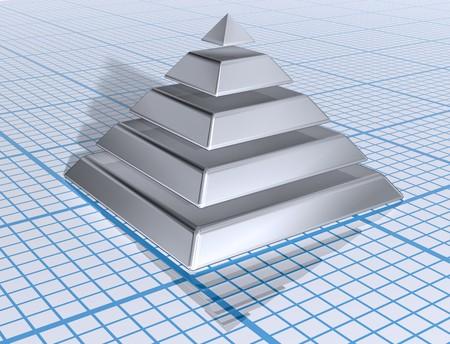 hi�rarchie: Afbeelding van een silver gelaagde piramide op grafiekpapier Stockfoto