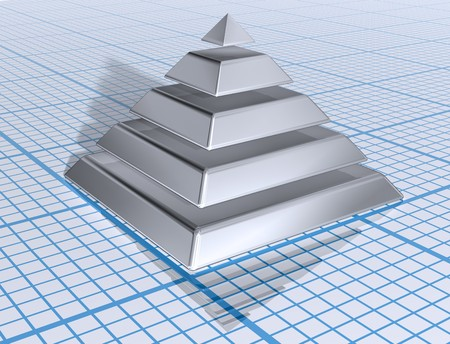 egyptian: Illustration of a silver layered pyramid on graph paper