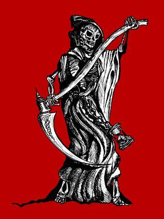 grim reaper reaper: Original pen and ink illustration of the Grim Reaper