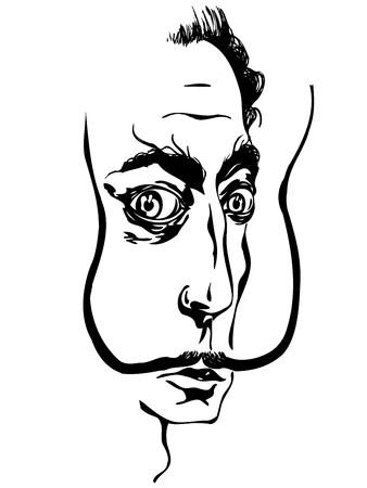 Illustration stylisée de l'artiste surréaliste Salvador Dali