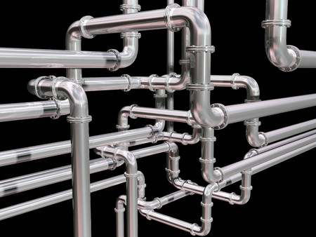 metal pipe: Illustration of a maze of industrial pipes
