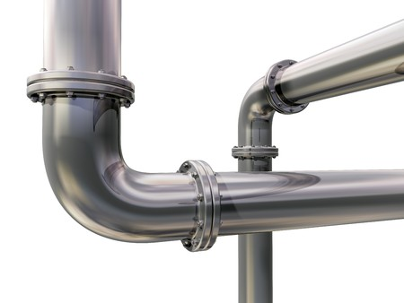 plumbing: Illustration of two industrial pipes crossing each other