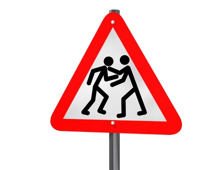 road rage: Illustration of a road traffic sign signaling road rage Stock Photo