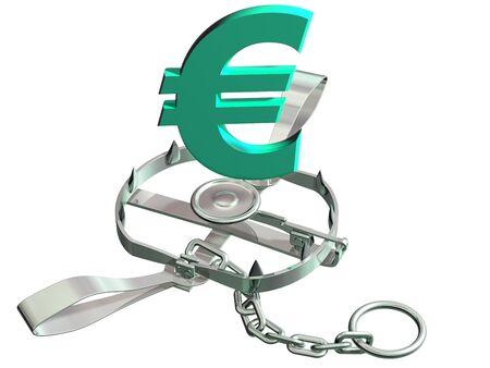 Vulnerable euro symbol precariously close to a bear trap photo