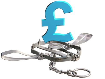 Vulnerable pound sterling symbol precariously close to a bear trap photo