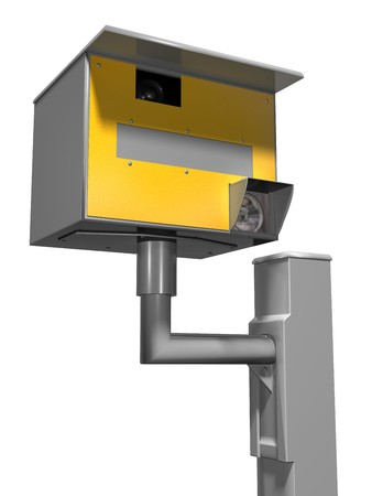 road safety: Isolated illustration of a road safety speed camera