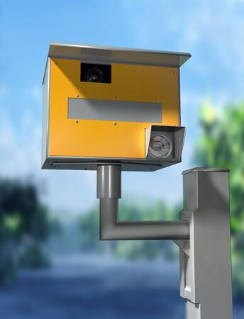 offence: Illustration of a road safety speed camera
