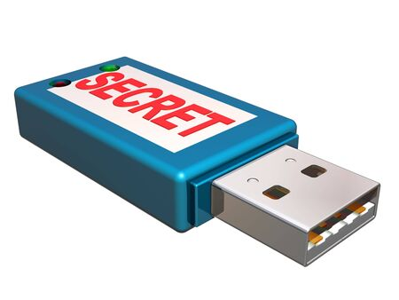 Isolated illustration of a memory stick containing secret information illustration
