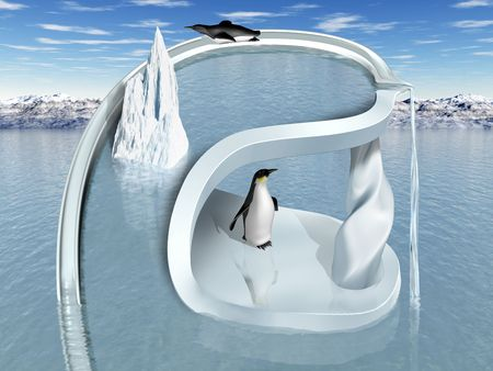 ice slide: Illustration of an impossible two tiered penguin playground