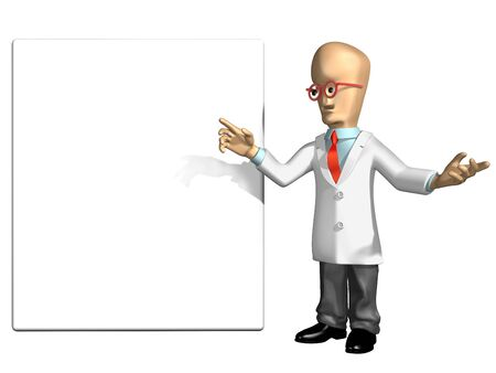 room for text: Cartoon professor pointing to a blank sign with room for your text