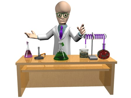 equipment experiment: Isolated illustration of a cartoon scientist demonstrating his experiment Stock Photo