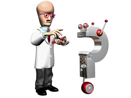 Isolated illustration of a professor demonstrating his invention Stock Illustration - 8075608