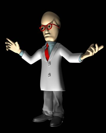 Mad scientist on a black background with a strong uplight Stock Photo - 8075607