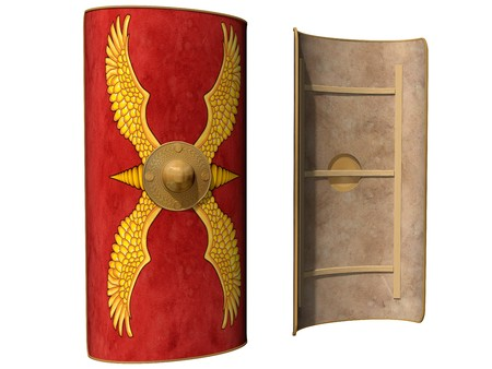 Isolated illustration of a Roman shield viewed from the front and from behind