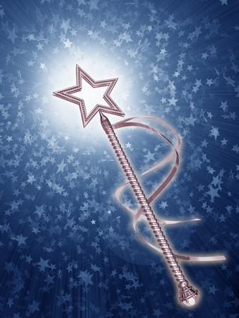 Illustration of a platinum fairy wand on a starry background Stock Illustration - 8191381