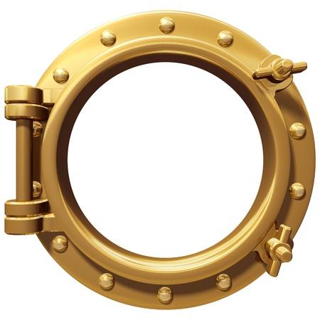 bronze: Illustration of a bronze ship porthole isolated on white Stock Photo