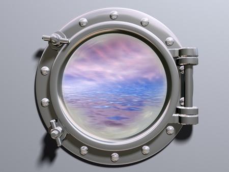 Ship porthole looking out to a dreamlike horizon