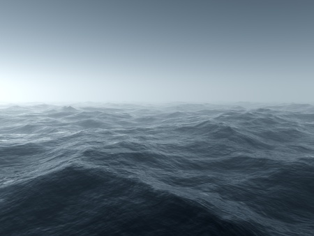 Illustration of a bleak and cold stormy seascape Stock Photo