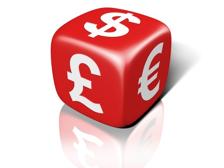 Illustration of a red dice showing currency symbols Stock Illustration - 8487603