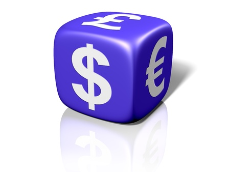 Illustration of a blue dice showing currency symbols Stock Illustration - 8487605