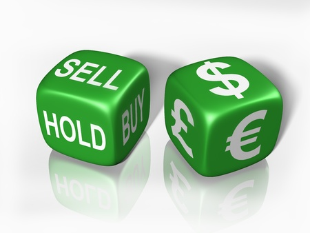 foreign currency: Two dice showing the gambling nature of buying and selling currency