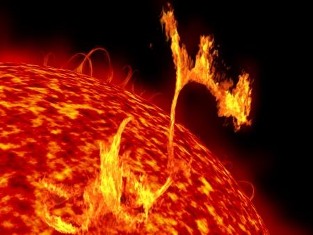 Ilustración del sol que muestra formidables erupciones solares