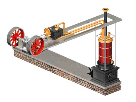 flywheel: Original illustration of a steampunk engine and boiler Stock Photo